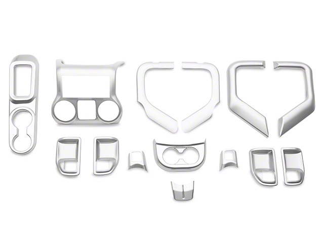 Rugged Ridge Interior Trim Accent Kit; Brushed Silver (11-18 Jeep Wrangler JK 4 Door w/ Automatic Transmission)