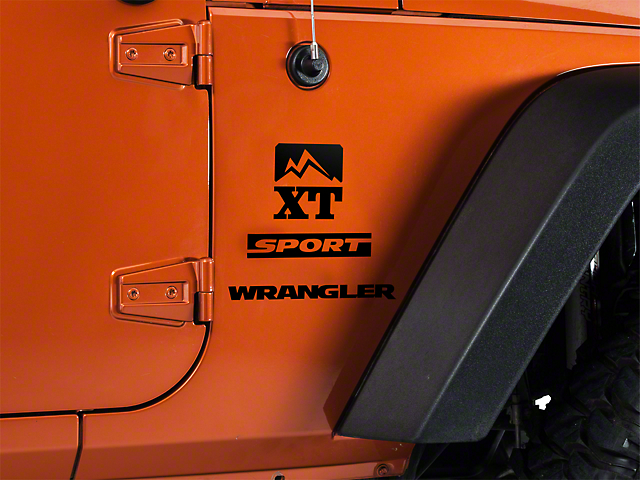 SEC10 Side Accent Decal with XT Logo; Black (87-20 Jeep Wrangler YJ, TJ, JK & JL)