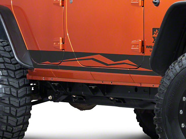 Rocker Panel Stripe with XT Logo; Matte Black (07-18 Jeep Wrangler JK 4 Door)