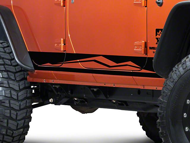 SEC10 Rocker Panel Stripe with XT Logo; Black (07-18 Jeep Wrangler JK 4 Door)