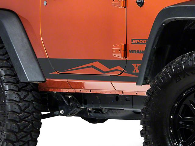 Rocker Panel Stripe w/ Logo - Matte Black (07-18 Jeep Wrangler JK 2 Door)