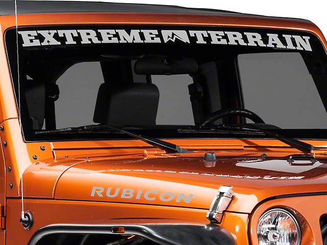 SEC10 ExtremeTerrain Windshield Banner; Silver (87-20 Jeep Wrangler YJ, TJ, JK & JL)