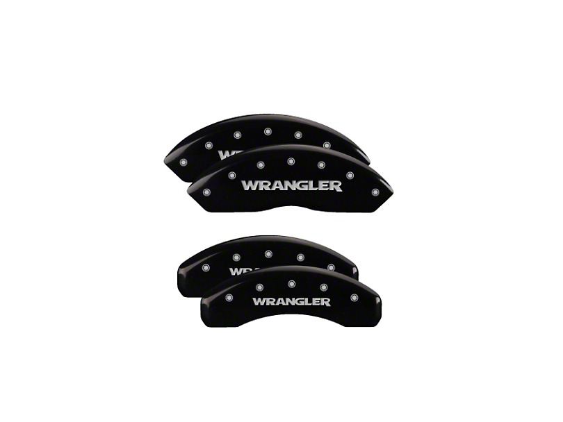 MGP Black Caliper Covers with Jeep Wrangler Logo; Front and Rear (18-20 Jeep Wrangler JL)