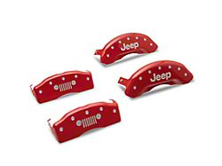 MGP Red Caliper Covers w/ Jeep Grille Logo - Front & Rear (18-20 Jeep Wrangler JL, Excluding Sport)