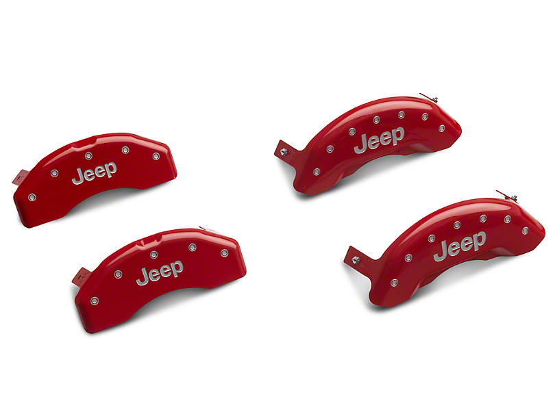 MGP Red Caliper Covers with Jeep Logo; Front and Rear (18-20 Jeep Wrangler JL)