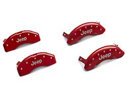 MGP Red Caliper Covers with Jeep Logo; Front and Rear (18-21 Jeep Wrangler JL)