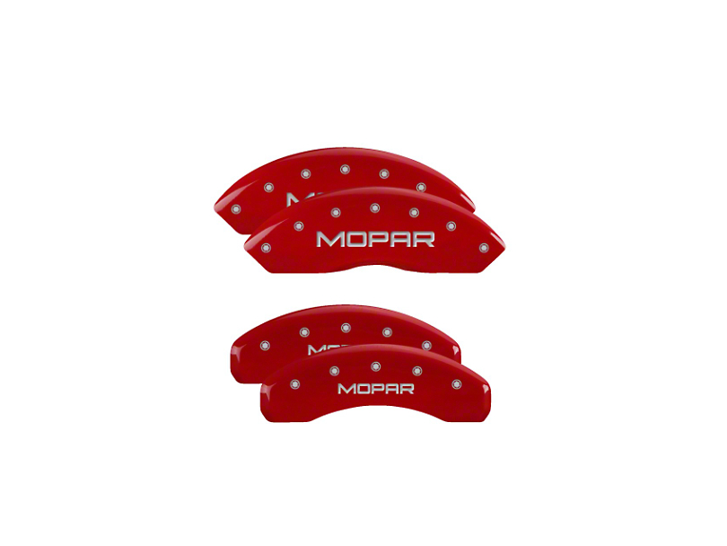MGP Red Caliper Covers with MOPAR Logo; Front and Rear (18-20 Jeep Wrangler JL)