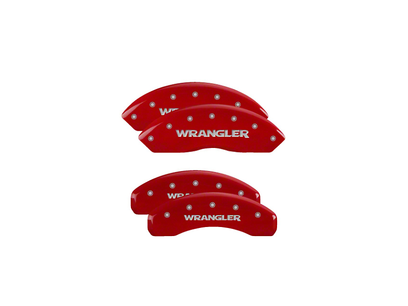 MGP Red Caliper Covers with Jeep Wrangler Logo; Front and Rear (18-20 Jeep Wrangler JL)