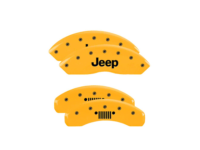 MGP Yellow Caliper Covers w/ Jeep Grille Logo - Front & Rear (18-20 Jeep Wrangler JL)