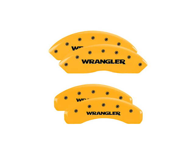 MGP Yellow Caliper Covers with Jeep Wrangler Logo; Front and Rear (18-20 Jeep Wrangler JL)