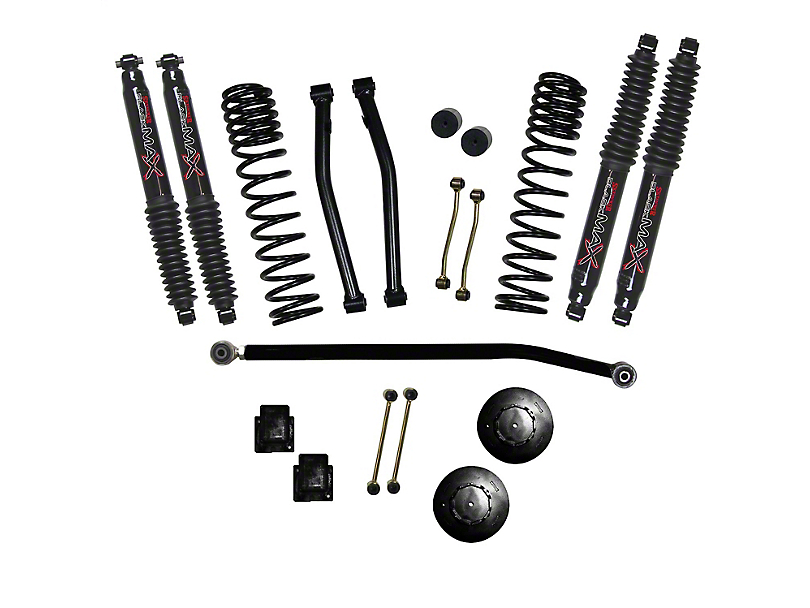 SkyJacker 3.50-Inch Dual Rate Long Travel Suspension Lift Kit with 2-Inch Rear Coil Spacers and Black MAX Shocks (2020 Jeep Gladiator JT Launch Edition, Rubicon)