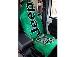 Towel2Go Seat Cover with Jeep and Grille Logo; Green (Universal; Some Adaptation May Be Required)