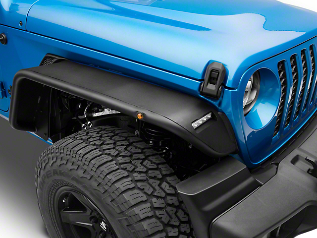 Barricade Tubular Fender Flares with LED DRL and Marker Lights; Front (20-21 Jeep Gladiator JT)