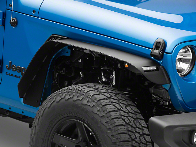 Barricade HD Flat Fender Flares with LED DRL and Turn Signal; Front (20-21 Jeep Gladiator JT)