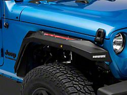 Barricade X-Series Front Fender Flares with LED DRL and Marker Lights; Red Inserts (20-22 Jeep Gladiator JT)