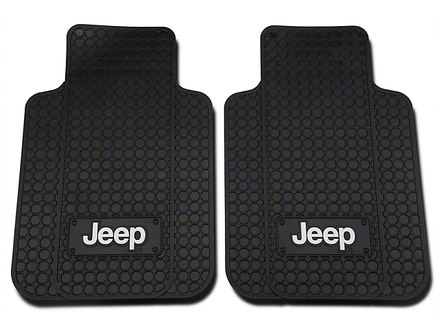 Front Floor Mats with Jeep Logo; Black (20-21 Jeep Gladiator JT)