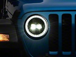 Axial LED Headlights; Black Housing; Clear Lens (20-21 Jeep Gladiator JT)