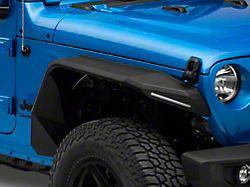 Road Armor Stealth Front Fender Flares with Switchback LED DRL; Textured Black (20-22 Jeep Gladiator JT)