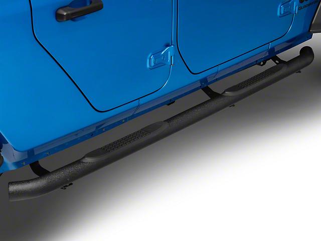 RedRock 4x4 3-Inch Round Side Step Bars; Textured Black (20-21 Jeep Gladiator JT)