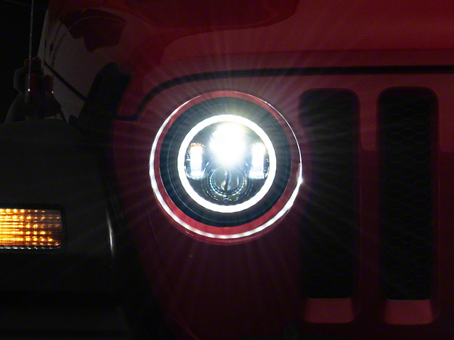 Axial LED Halo Headlights with DRL and Amber Turn Signals; Black Housing; Clear Lens (20-22 Jeep Gladiator JT)