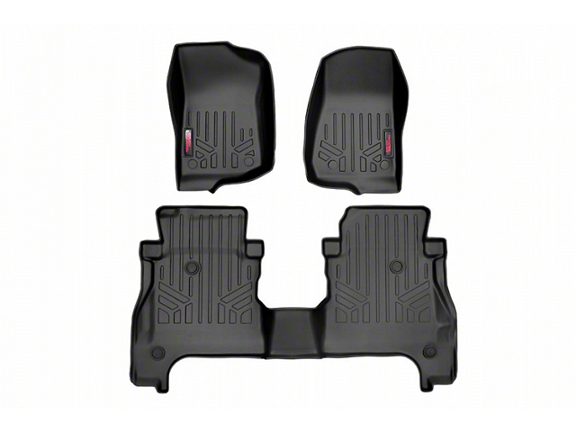 Rough Country Heavy Duty Front and Rear Floor Mats; Black (20-21 Jeep Gladiator JT)
