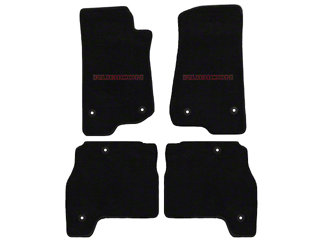 Lloyd All-Weather Carpet Front and Rear Floor Mats with Red and Black Rubicon Logo; Black (20-21 Jeep Gladiator JT)
