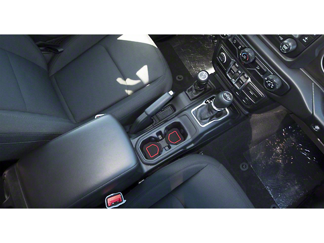 Interior Cup Holder Foam Inserts; 3-Piece Kit; Black/Red (18-21 Jeep Wrangler JL)