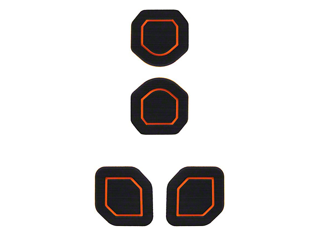 Interior Cup Holder Foam Inserts; 4-Piece Kit; Black/Orange (20-22 Jeep Gladiator JT)