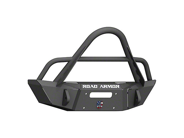Road Armor Stealth Winch Competition Cut Front Bumper with Stinger Guard; Textured Black (20-22 Jeep Gladiator JT)