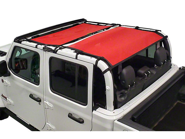 Dirty Dog 4x4 Front and Rear Seat Sun Screen; Red (20-21 Jeep Gladiator JT)
