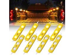 8-LED Rock Light Pod Truck Bed Lightning Kit; Amber (Universal; Some Adaptation May Be Required)