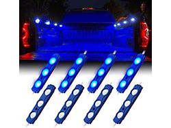 8-LED Rock Light Pod Truck Bed Lightning Kit; Blue (Universal; Some Adaptation May Be Required)