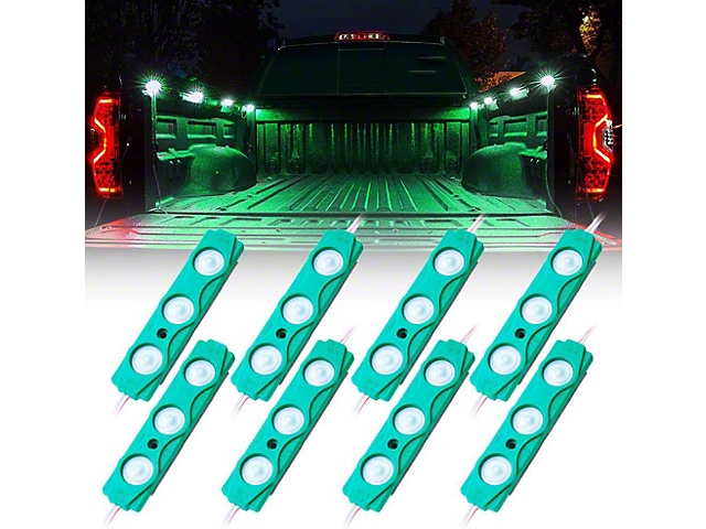 8-LED Rock Light Pod Truck Bed Lightning Kit; Green (Universal; Some Adaptation May Be Required)