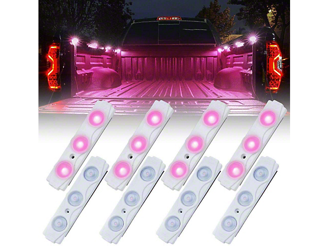 8-LED Rock Light Pod Truck Bed Lightning Kit; Pink (Universal; Some Adaptation May Be Required)