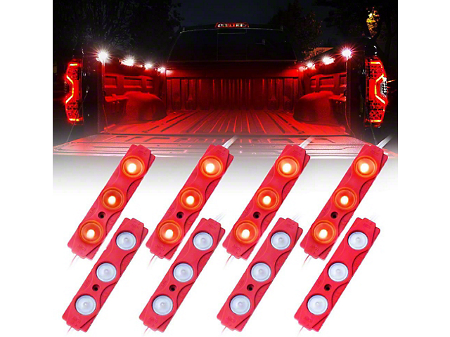 8-LED Rock Light Pod Truck Bed Lightning Kit; Red (Universal; Some Adaptation May Be Required)
