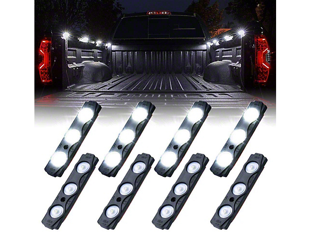 8-LED Rock Light Pod Truck Bed Lightning Kit; White (Universal; Some Adaptation May Be Required)