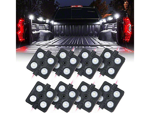 8-LED Square Rock Light Pods Truck Bed Lighting Kit (Universal; Some Adaptation May Be Required)