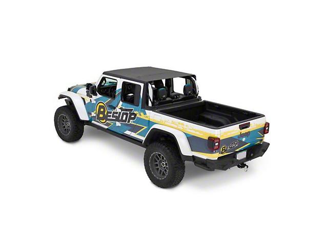 Bestop Header Extended Safari Cable Style Bikini Top; Black Diamond (20-22 Jeep Gladiator JT)