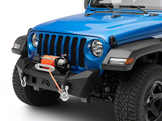 Fab Fours Stubby Front Bumper; without Guard; Matte Black (20-22 Jeep Gladiator JT)