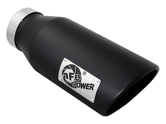 AFE 6-Inch MACH Force-XP 409 Stainless Steel Exhaust Tip; Black; Passenger Side (Fits 4-Inch Tailpipe)