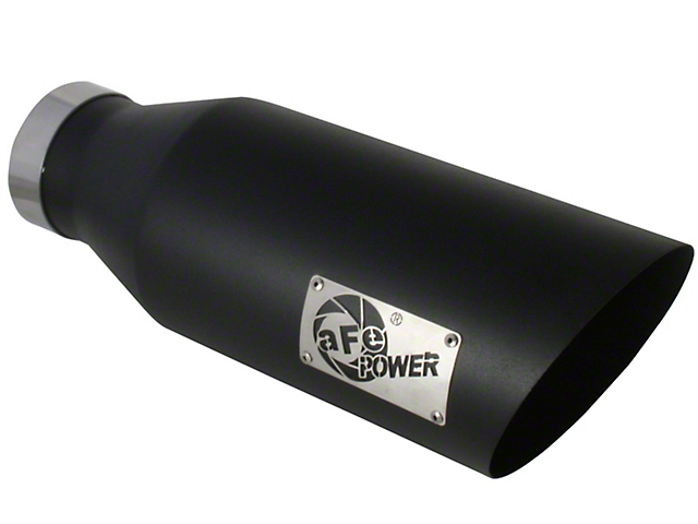AFE 7-Inch MACH Force-XP 409 Stainless Steel Exhaust Tip; Black (Fits 4-Inch Tailpipe)