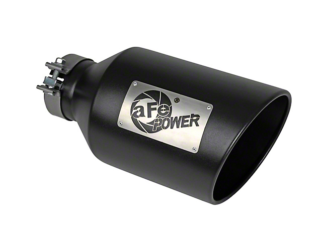 AFE 8-Inch MACH Force-XP 304 Stainless Steel Exhaust Tip; Black (Fits 4-Inch Tailpipe)