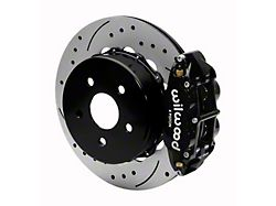 Wilwood Forged Narrow Superlite 4R Rear Big Brake Kit with 14-Inch Drilled and Slotted Rotors for OE Parking Brake; Black Calipers (20-22 Jeep Gladiator JT)
