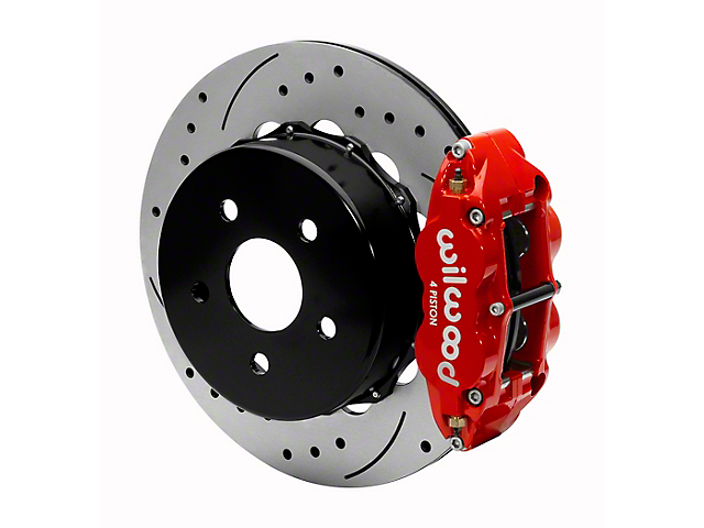 Wilwood Forged Narrow Superlite 4R Rear Big Brake Kit with 14-Inch Drilled and Slotted Rotors for OE Parking Brake; Red Calipers (20-22 Jeep Gladiator JT)