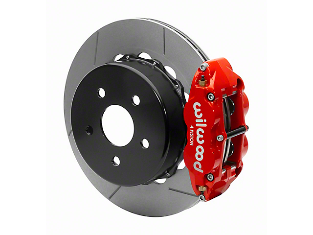 Wilwood Forged Narrow Superlite 4R Rear Big Brake Kit with 14-Inch Slotted Rotors for OE Parking Brake; Red Calipers (20-22 Jeep Gladiator JT)