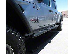 4X Series 4-Inch Oval Side Step Bars; Black (20-22 Jeep Gladiator JT)
