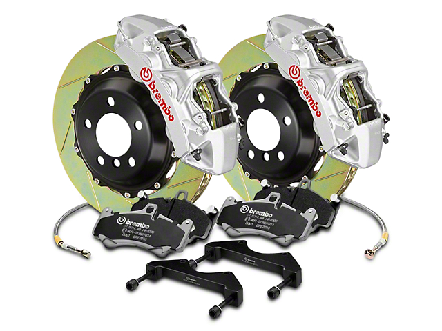 Brembo GT Series 6-Piston Front Brake Kit - 2-Piece Cross Drilled Rotors - Silver (04-08 RAM 1500)