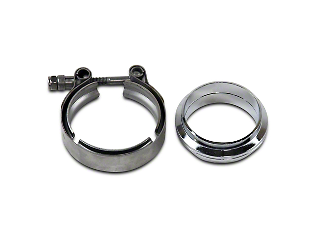 GMS 2.5 in. Mating Flat Flange w/ V-Band Exhaust Clamp - Stainless Steel (02-19 RAM 1500)