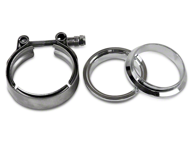 GMS 2.5 in. Mating Male to Female Interlocking Flange w/ V-Band Exhaust Clamp - Stainless Steel (02-19 RAM 1500)