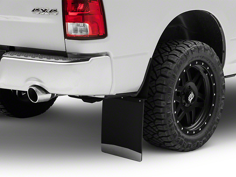Husky 12 in. Wide KickBack Mud Flaps - Textured Black Top & Stainless Steel Weight (04-18 RAM 1500)